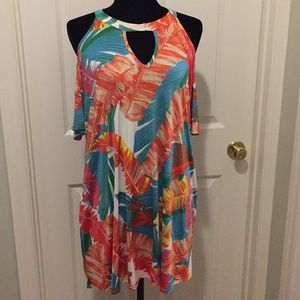 Auditions tropical open shoulder tunic